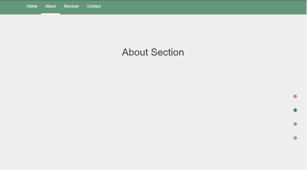 one page navigation menu with multiple options