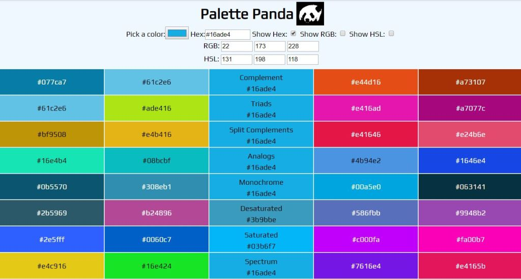 panda html color palette