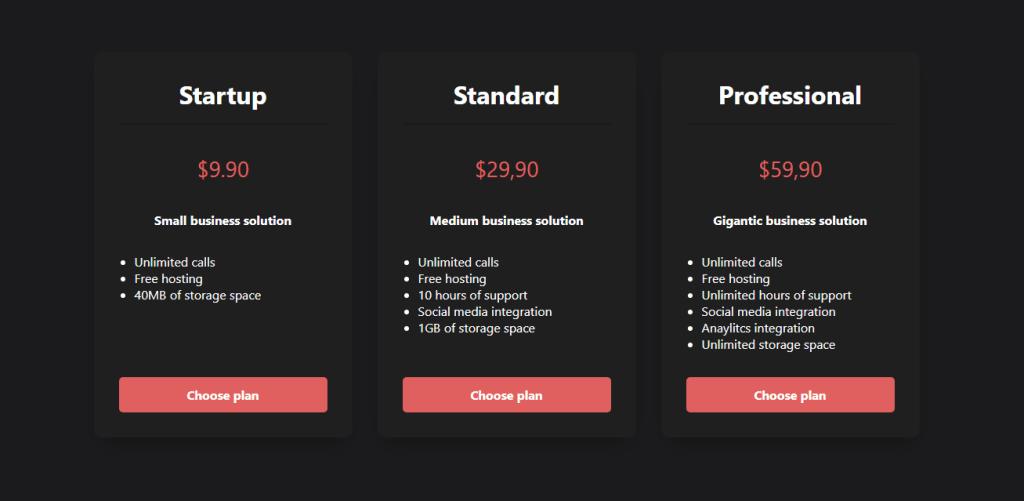 pricing plan layout