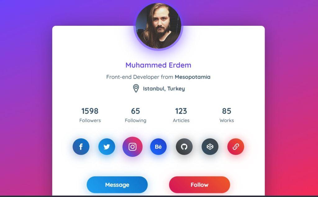 profile card html css