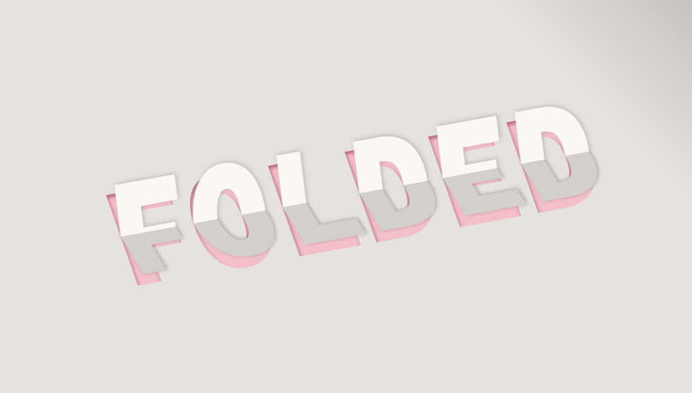 folding text animation with shadow effect