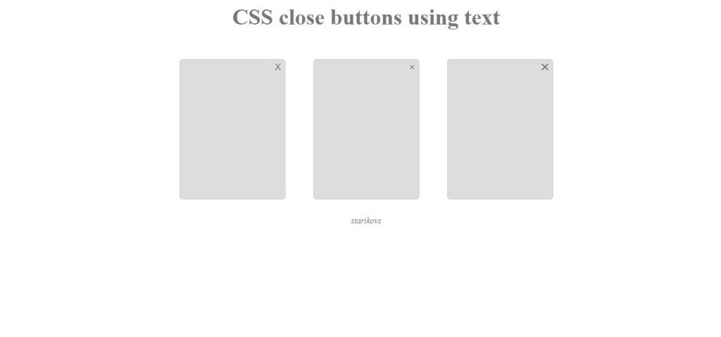 html close button text