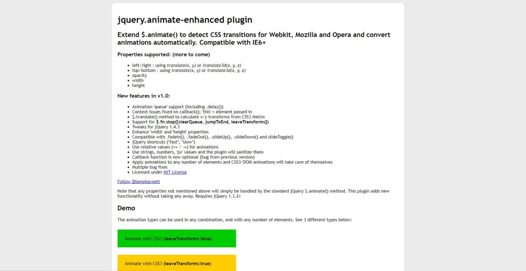 jQuery Animate Enhanced Plugin