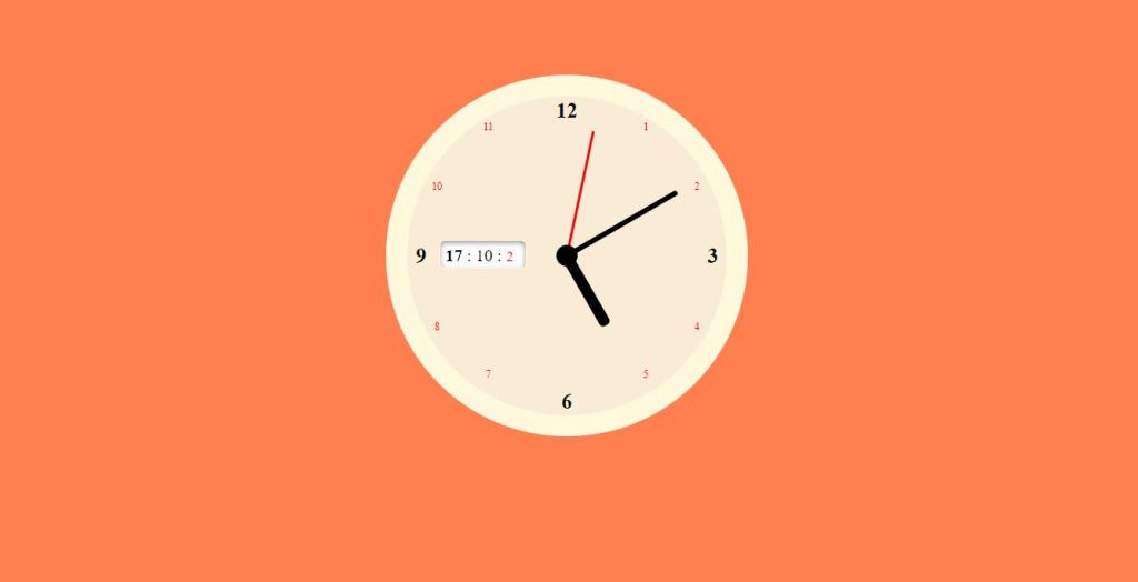 js and css clock with sound