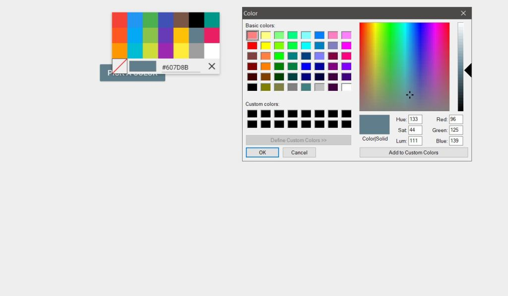 Material Design Color Picker for Designer