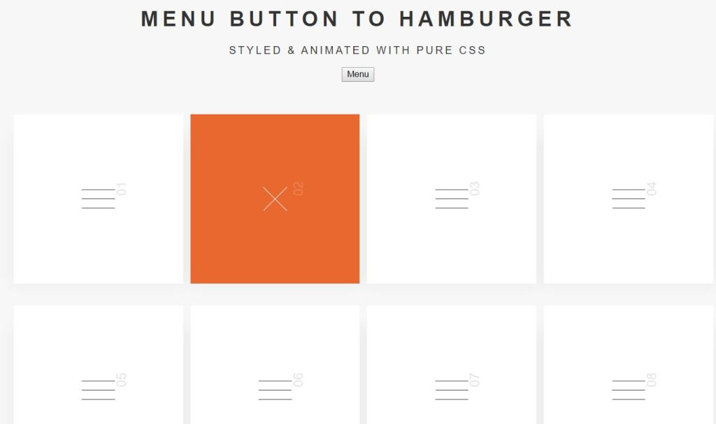 example of responsive hamburger menu icon effect css