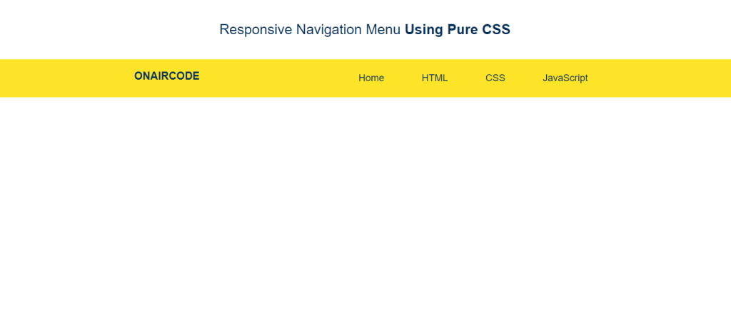 Navigation menu header with CSS