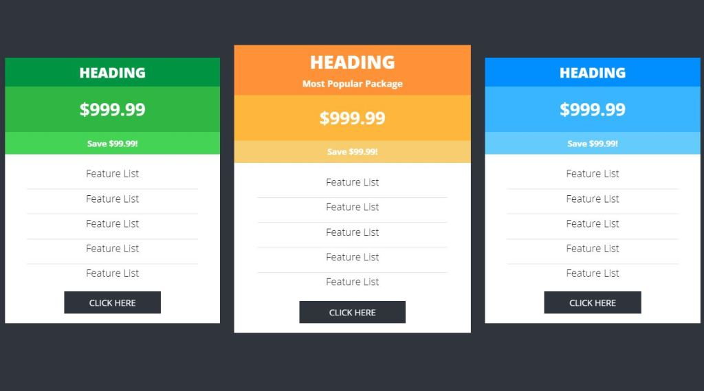 Pricing Tables with CSS and JavaScript