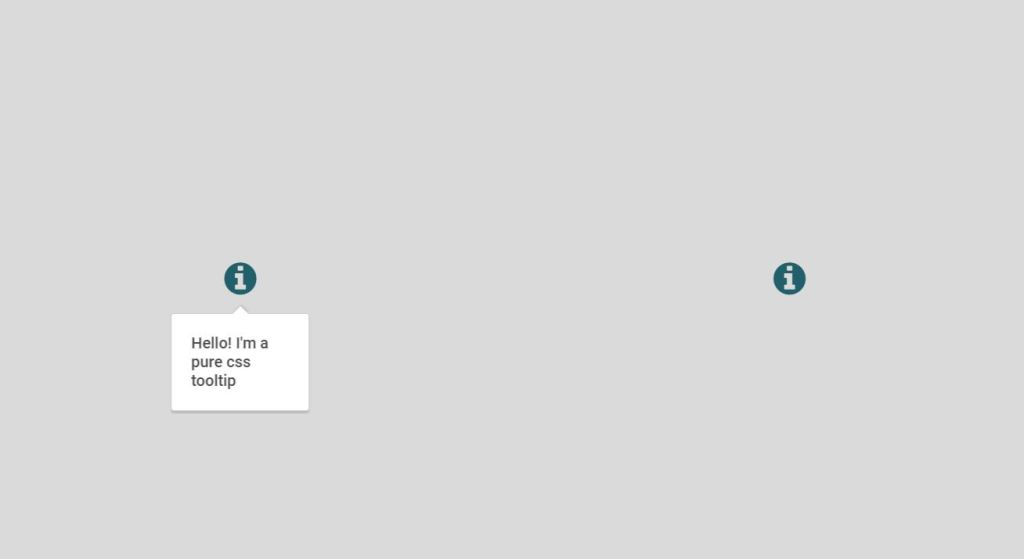 example of tooltip which appears on hover with pure CSS, HTML, JavaScript and Bootstrap.