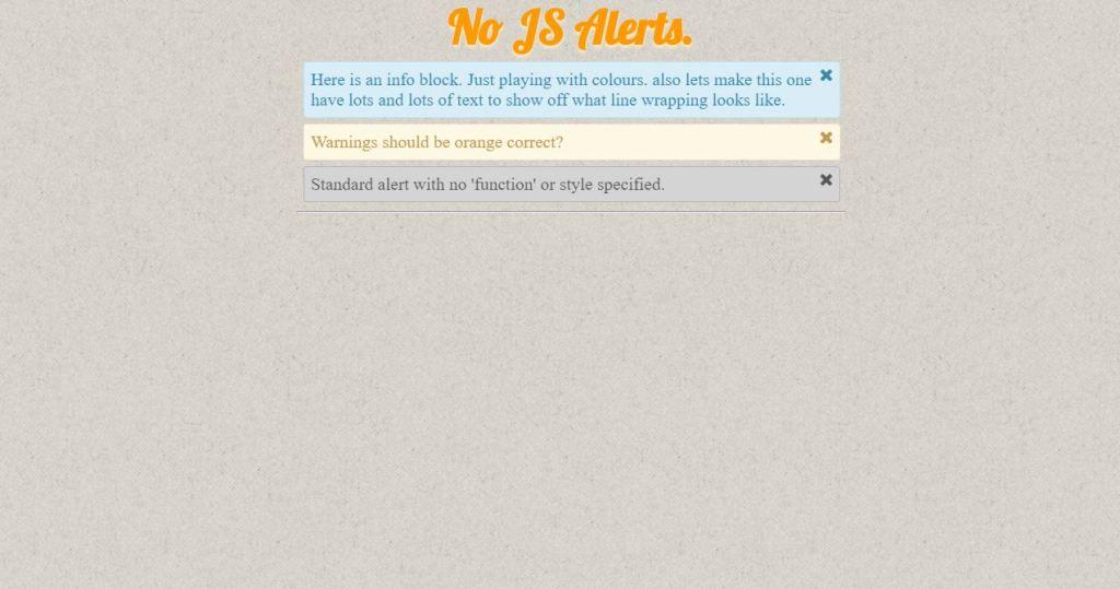CSS alert box with dismiss