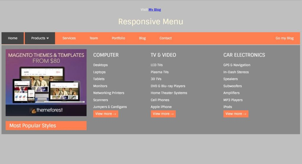 responsive mega menu using HTML/HTML5, CSS/CSS3