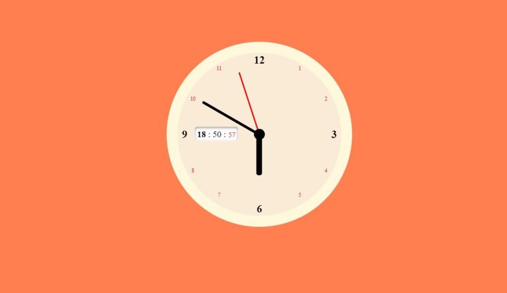 Js and CSS analog clock with sound