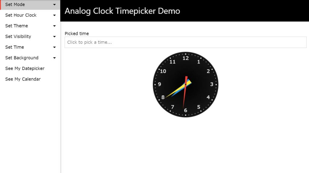 Analog clock Bootstrap 4 Time picker code examples