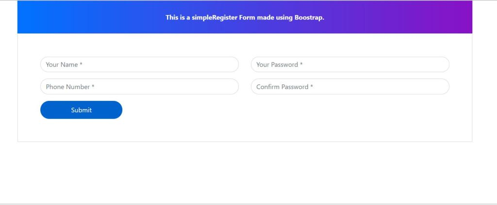 Bootstrap 4 Simple Registration Form