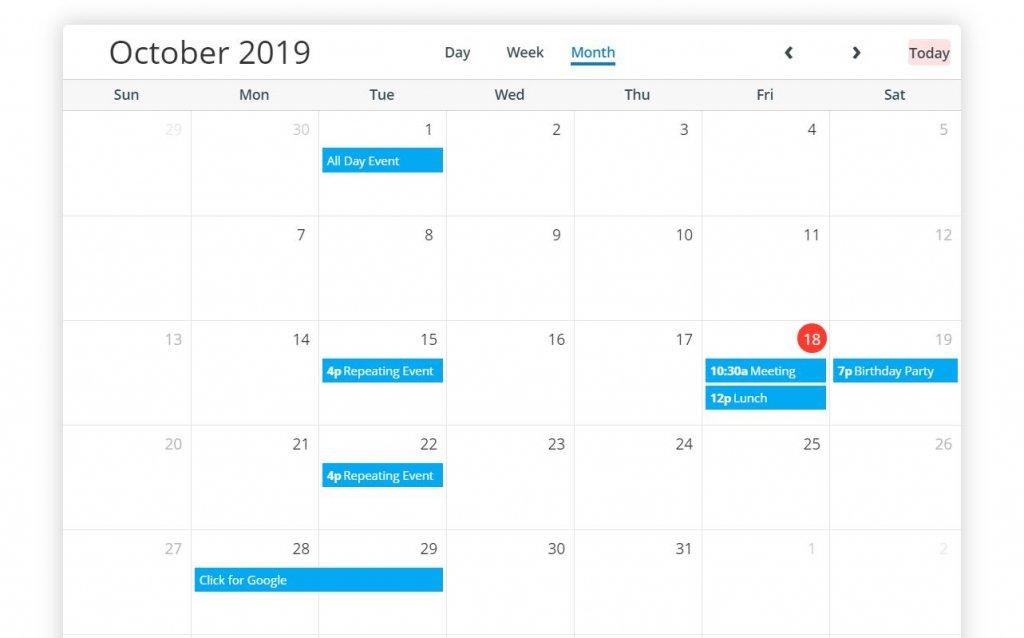 Bootstrap 4 scheduler calendar template