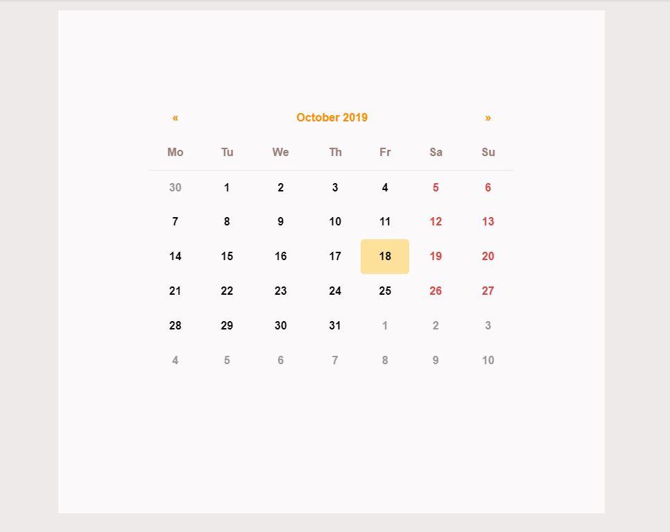 Bootstrap calendar example