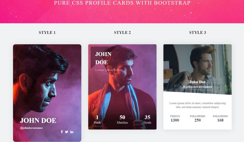 Bootstrap profile cards