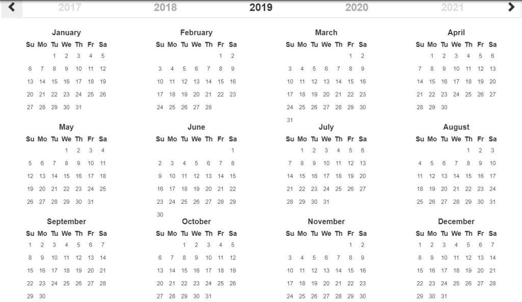 Bootstrap 4 calendar design