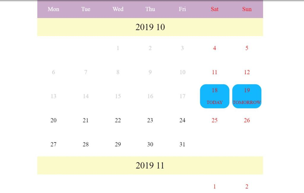 Calendar Vue.js