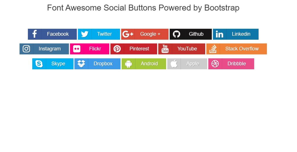 font awesome Bootstrap social media share buttons