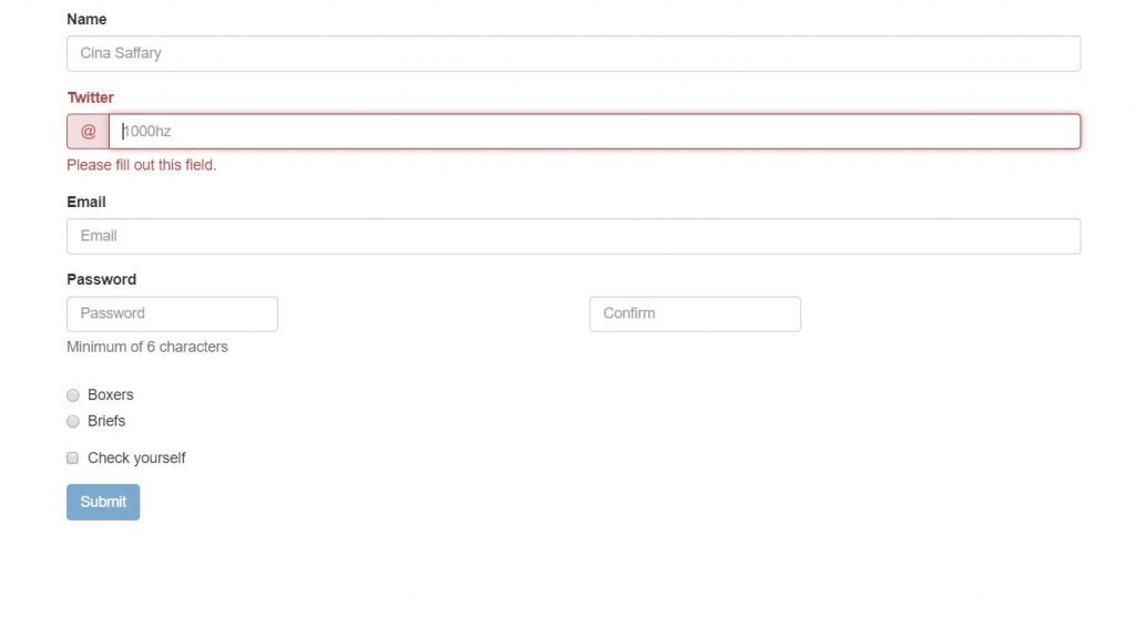 Signup Bootstrap form validation