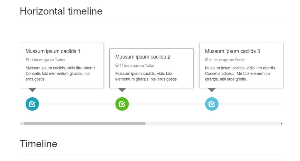 Horizontal and vertical Bootstrap HTML CSS horizontal timeline example