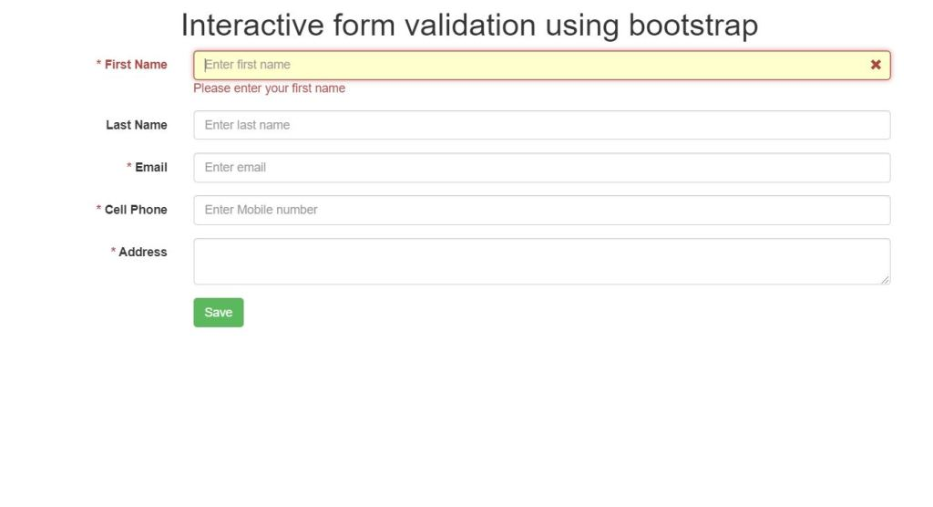 Interactive Bootstrap form validation