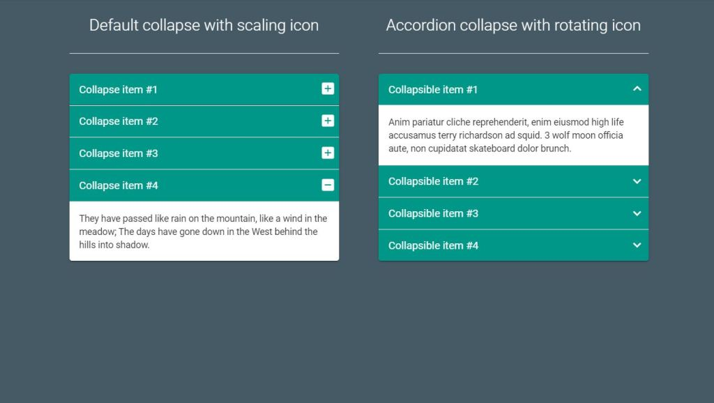 Material design Bootstrap Accordion collapse