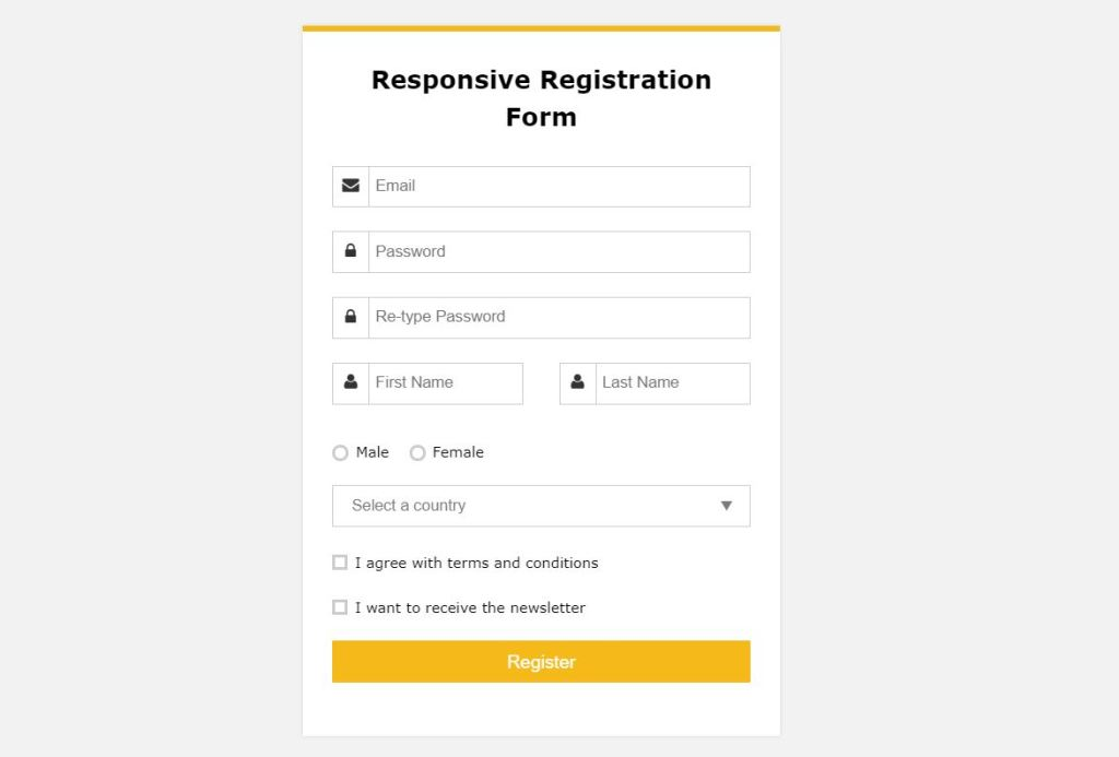 Responsive Bootstrap registration form