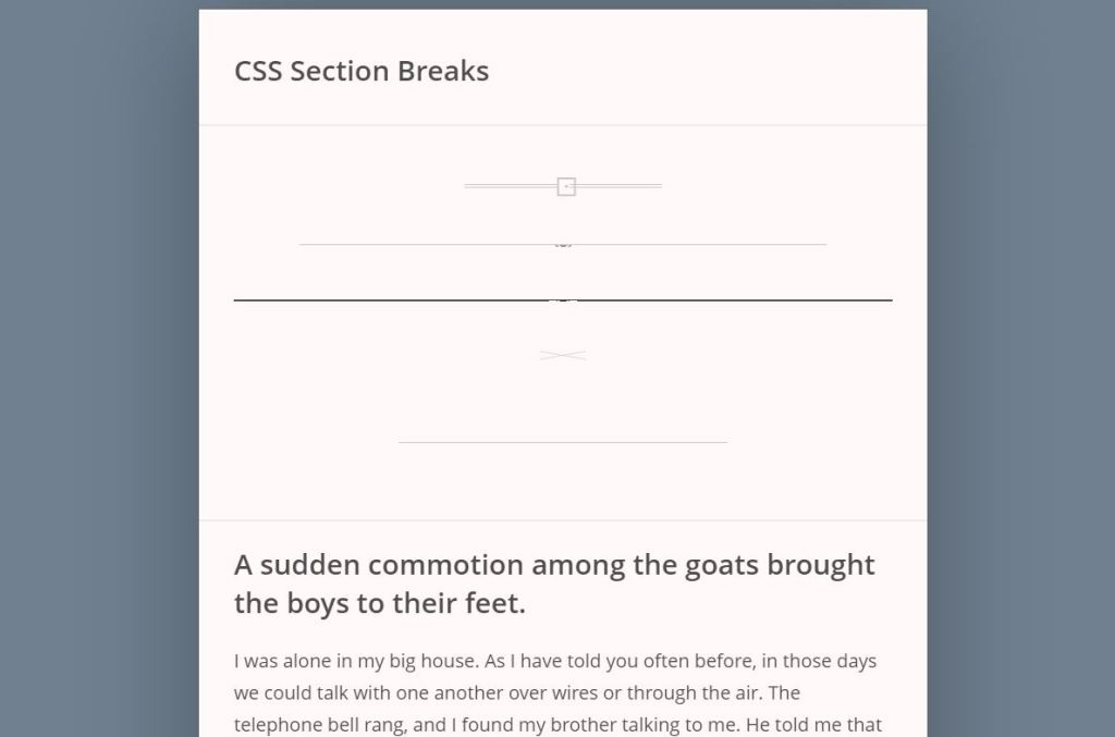 CSS section breaks