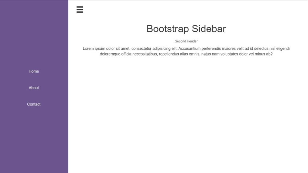Bootstrap 4 side bar menu Examples