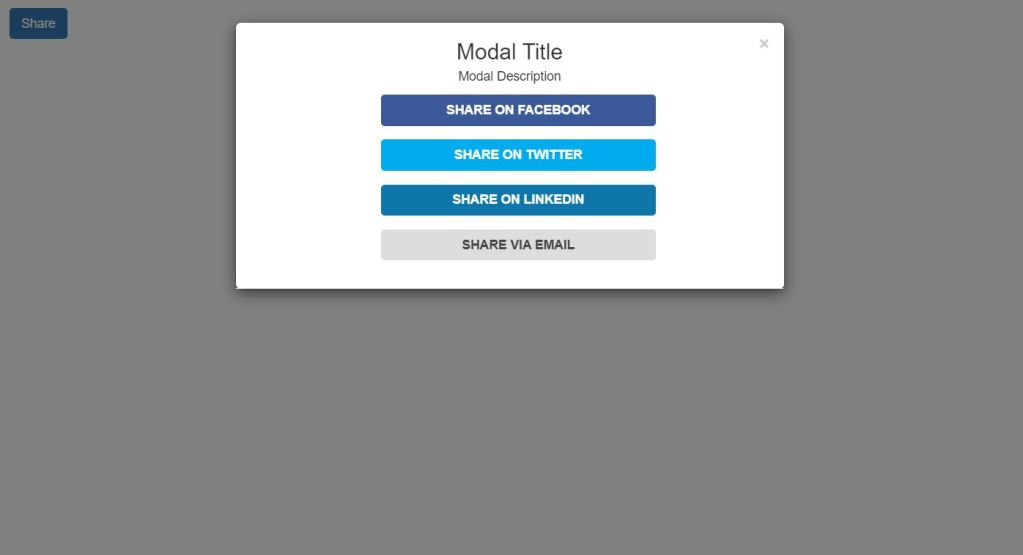Bootstrap social media share buttons modal