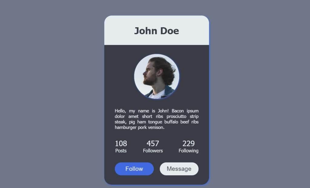 Social CSS User profile Design