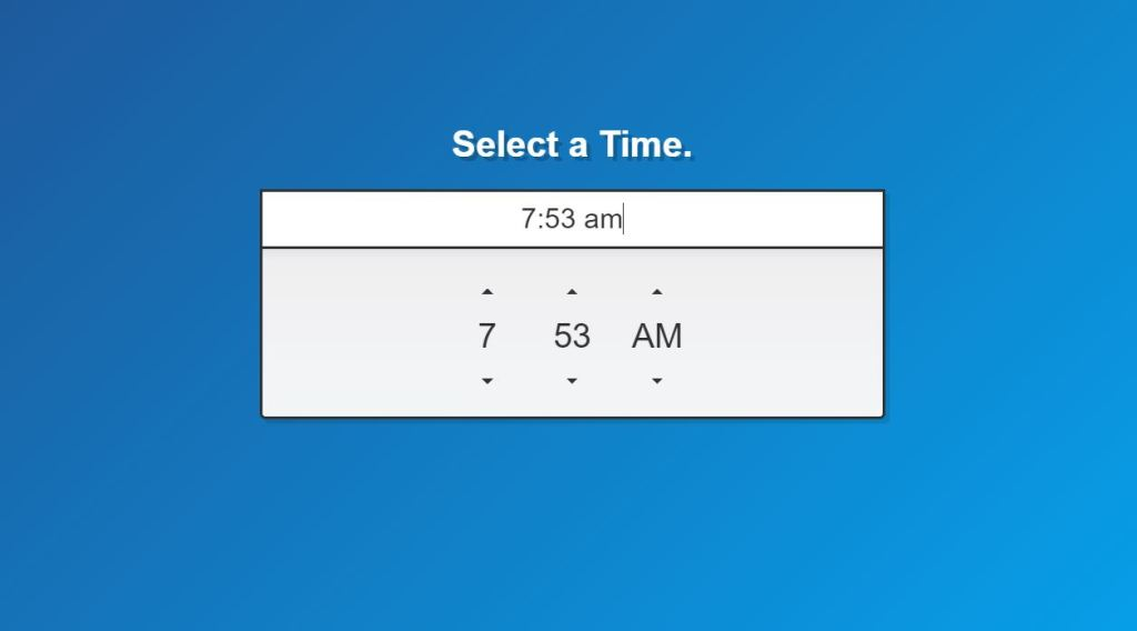 Vanilla Javascript Bootstrap 4 Time picker code examples
