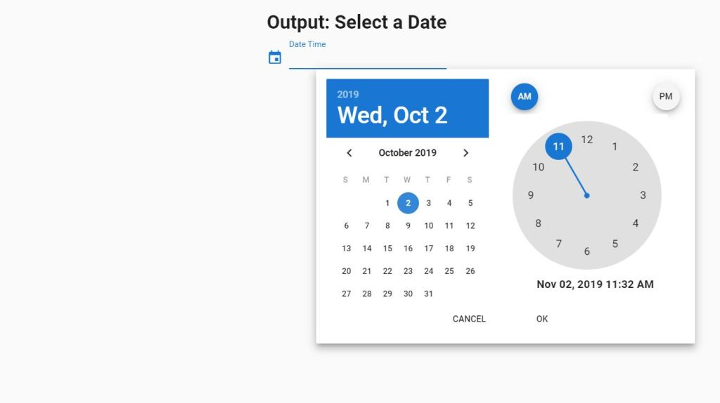 Vuetify date time