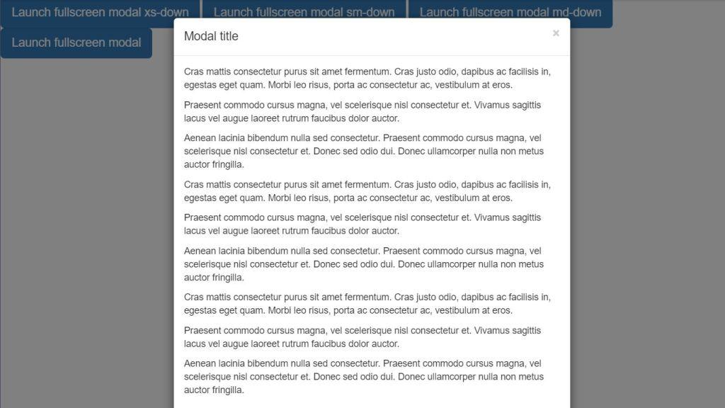 Bootstrap modal box window fullscreen