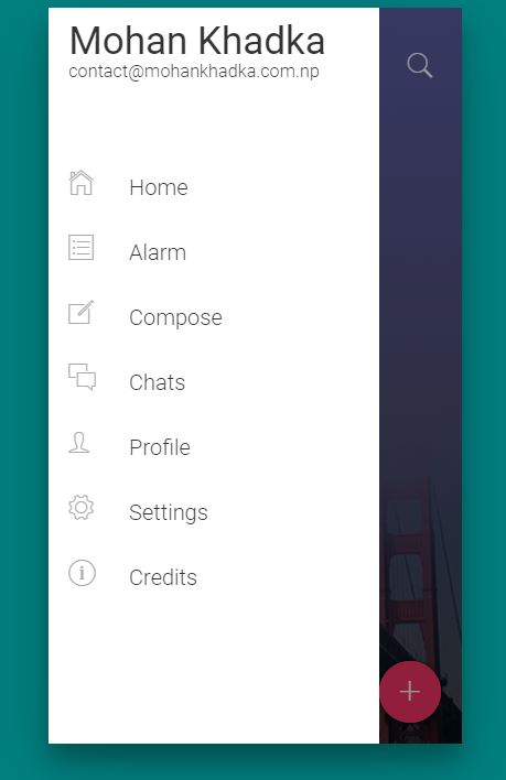 Amazing Flat design JavaScript mobile Nav menu example
