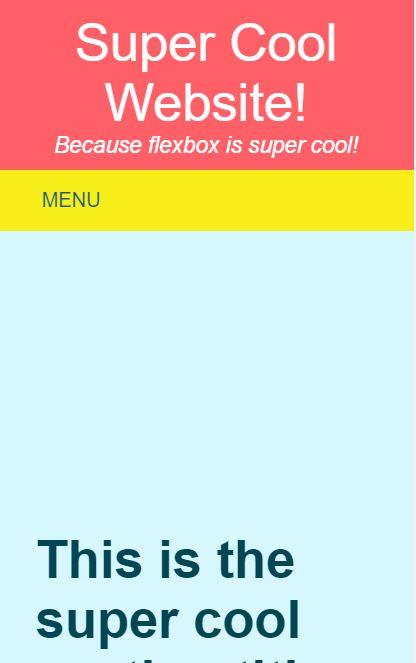 Flexbox Grid Layout Mobile Menu
