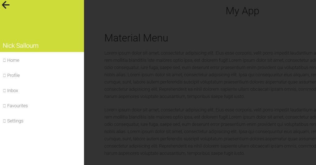 Website material design offcanvas