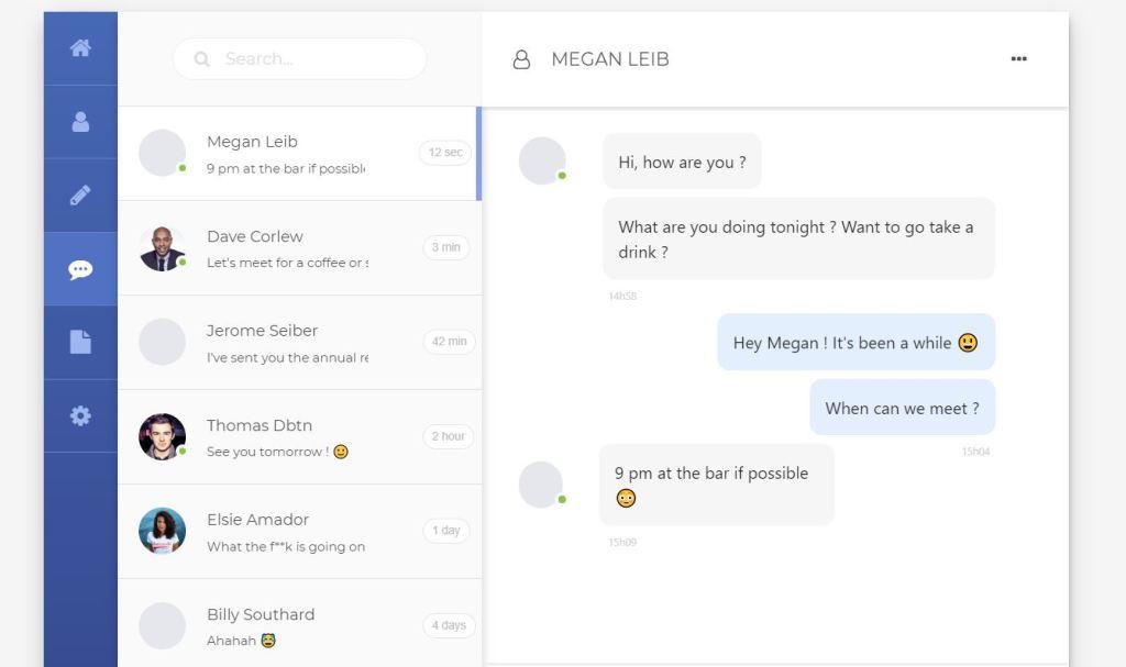 Material design JavaScript/JS Chat Box