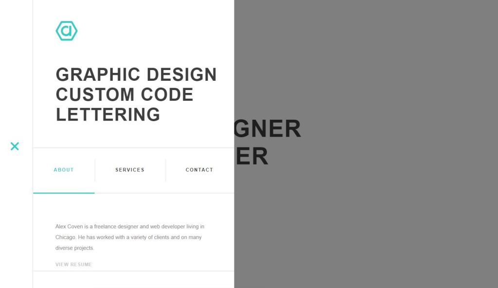JS menu shelf and logo slideout