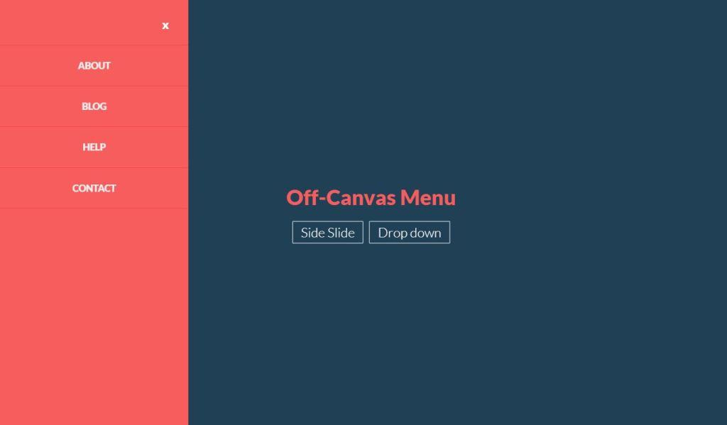 Off canvas menu