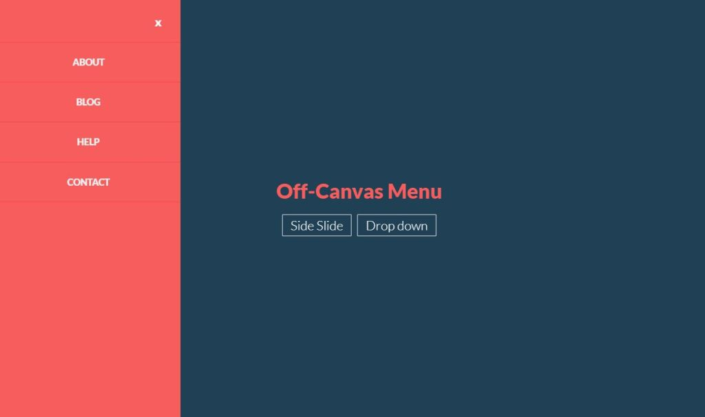Animated JavaScript JS Off Canvas Menu examples