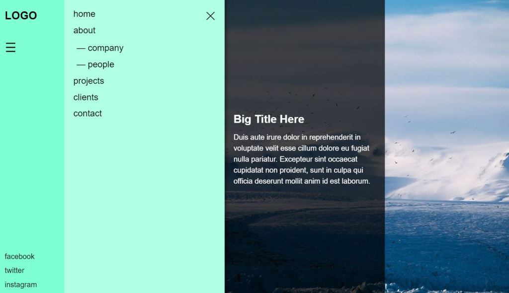 Off canvas menu with CSS and JS