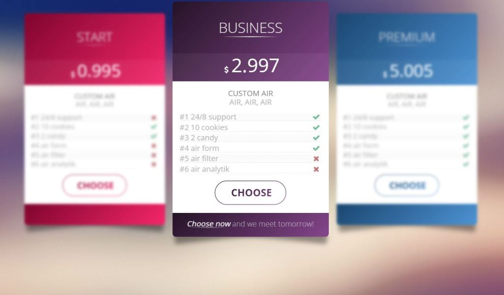 JavaScript pricing tables