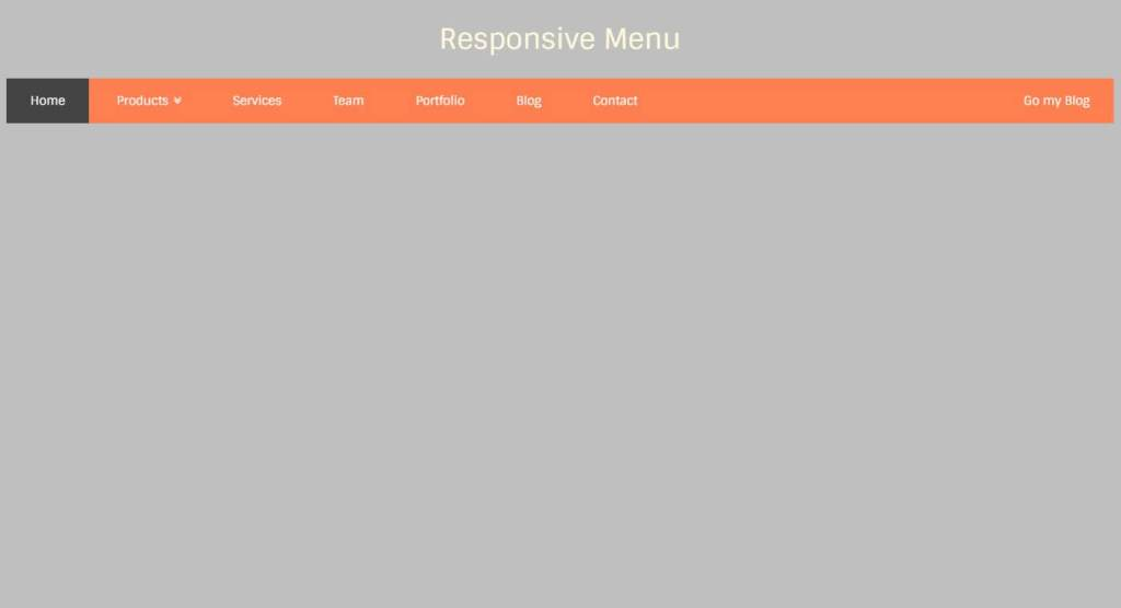 Responsive Javascript(JS) horizontal navigation menu example