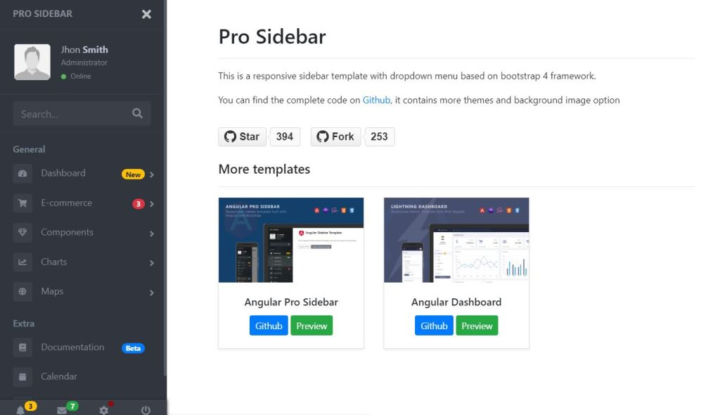 Sidebar Website Template Example