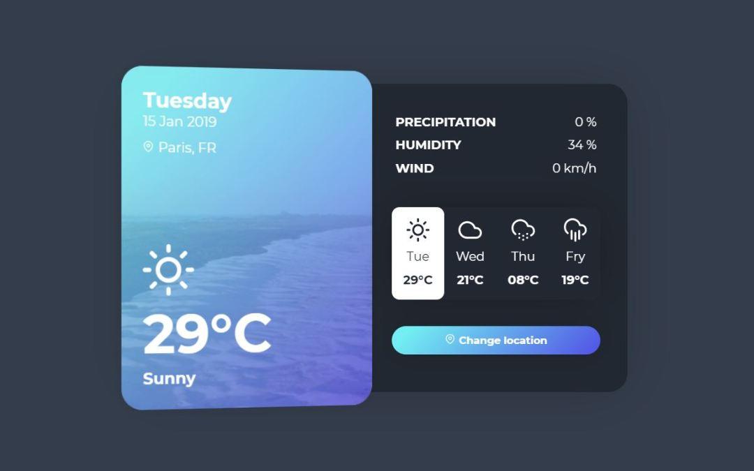 12+ JavaScript Weather Widget Design Examples