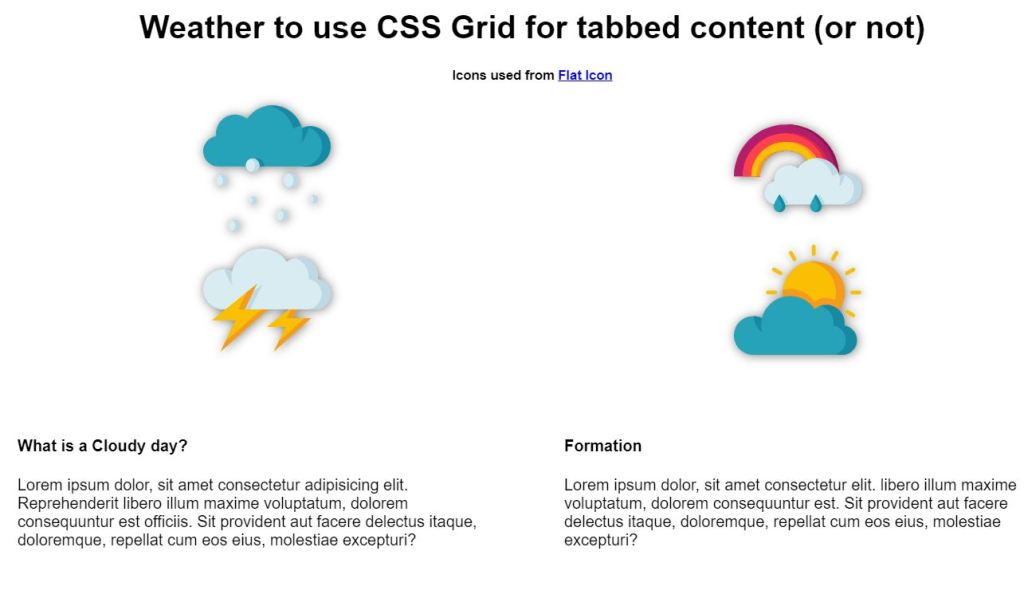JS Tab content with grid