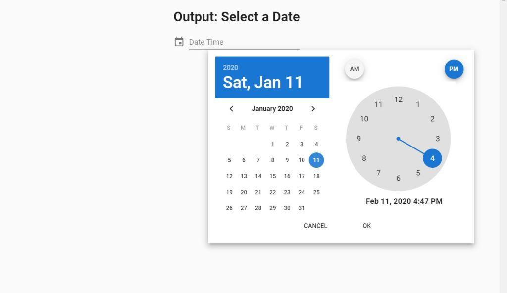 JavaScript/JS date picker example